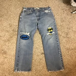 Levi's Hand Distressed Jeans With Batman Patches